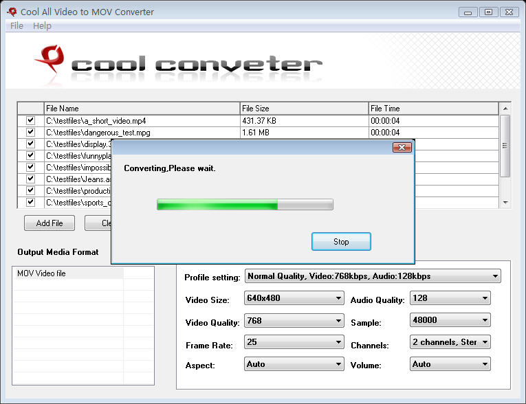 Click to view Cool All Video to MOV Converter 6.0 screenshot