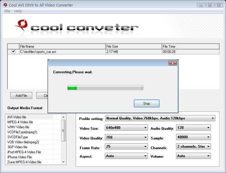 Click to view Cool AVI DIVX to All Video Converter 6.0 screenshot