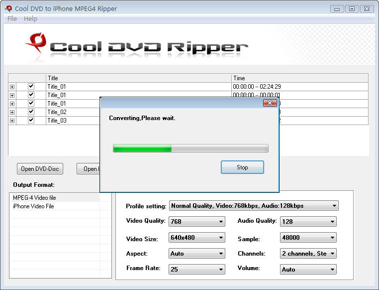 Click to view Cool DVD to iPhone MPEG4 Ripper 6.0 screenshot