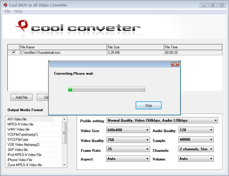 Convert MOV to all popular video format.
